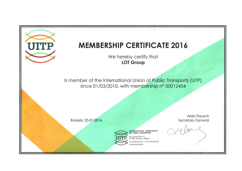 UITP Certificate